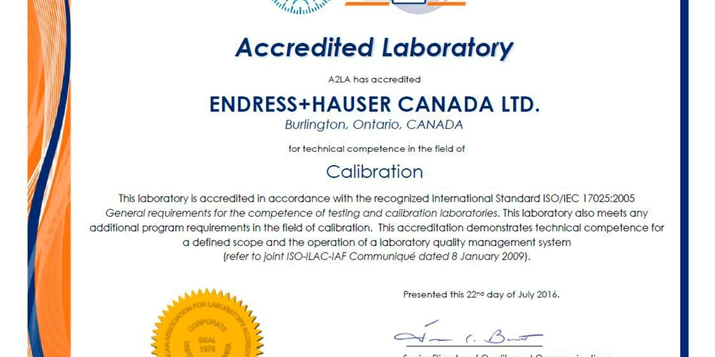 ISO/IEC 17025:2005 Certificate for Canada